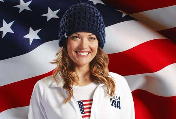 Amy Purdy paralympian, posing for Kellogs and the USA Olympic team. Natural makeup and hair