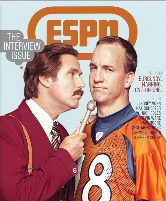 Will Ferrel as Ron Burgundy and Payton Manning Interview for ESPN