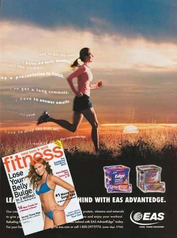 Print ad for EAS nutrition products featuring a woman running through a field at sunrise with inset of Fitness Magazine cover
