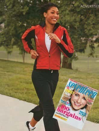 Print ad featuring an African-American woman running in sports wear with inset of Seventeen Magazine cover