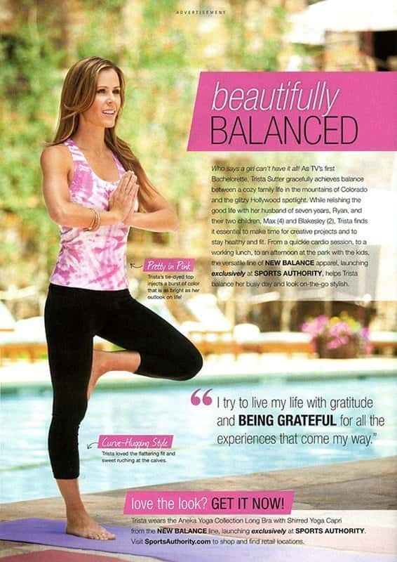 Tear sheet of print ad for Sports Authority's Aneka Yoga Collection as worn by Trista Sutter