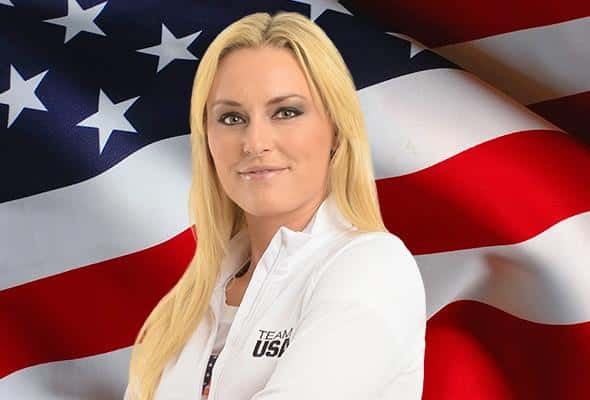 Lindsey Vonn posing for the Olypics campaign for Kelloggs