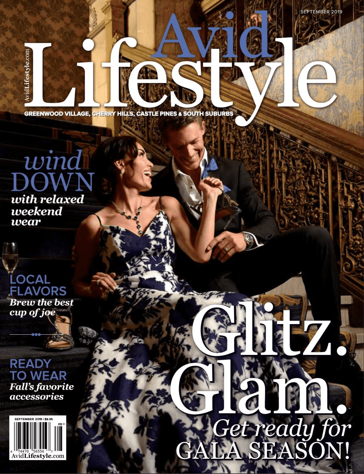 Cover photo for Avid Lifestyle magazine. Dark haired couple dressed in Gala ball gown and tuxedo